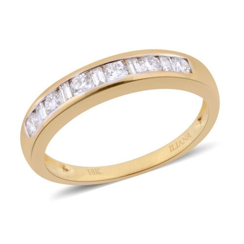 ILIANA 18K Y Gold IGI Ceritfied Diamond (Rnd) (VS-SI/G-H) Half Eternity Band Ring 0.500 Ct.