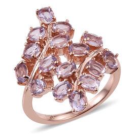 Rose De France Amethyst (Ovl) Leaves Crossover Ring in ION Plated 18K Rose Gold Bond 2.500 Ct.