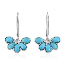 Arizona Sleeping Beauty Turquoise (Pear) Lever Back Earrings in Platinum Overlay Sterling Silver 2.000 Ct.