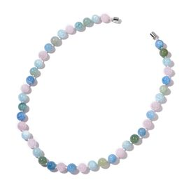 Limited Available-Very Rare AAA Espirito Santo Aquamarine and Marropino Morganite Beaded Necklace (Size 20) with Magnetic Clasp in Rhodium Plated Sterling Silver 300.000 Ct.