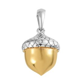Platinum and Yellow Gold Overlay Sterling Silver Acorn Nut Pendant, Silver wt. 3.54 Gms