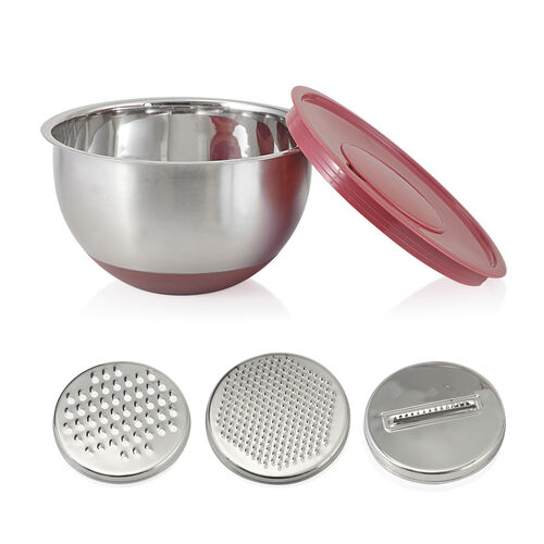 Kitchen Utensils - 1 Pc Splash Bowl, 3 Pcs Graters, 3 Pcs Mixing Bowls with Red Lids, 4 Pcs Prep Bowls, 4 Pcs Measuring Cups, 4 Pcs Measuring Spoons, 1 Pc Whisk and 1 Pc Colander in Stainless Steel