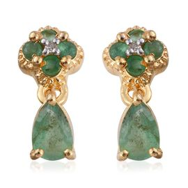 Kagem Zambian Emerald (Pear), Diamond Earrings (with Push Back) in 14K Gold Overlay Sterling Silver 1.010 Ct.