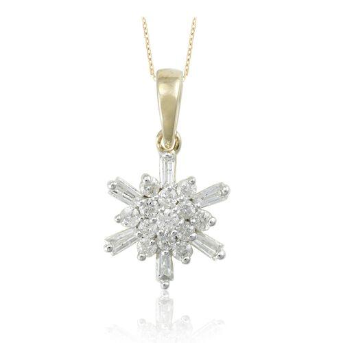 9K Yellow Gold Diamond Pendant With Chain  0.250 Ct.