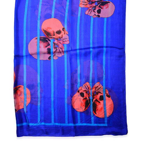 100% Mulberry Silk Dark Blue and Multi Colour Skull Pattern Scarf (Size 170x110 Cm)