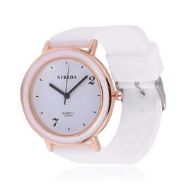 STRADA  Japanese Movement White Dial Watch in Rose Gold Tone with Stainless Steel  Back and White Silicone Strap