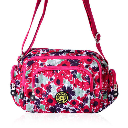 Red, Green and Multi Colour Floral Pattern Red Colour Sports Bag with External Zipper Pocket and Adjustable Shoulder Strap (Size 25x18x9 Cm)