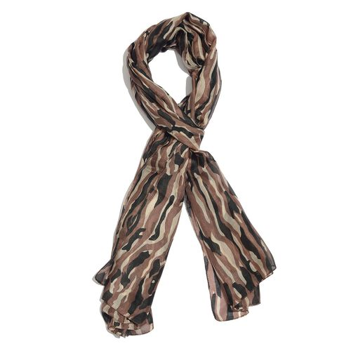 100% Mulberry Silk Chocolate and Cream Colour Camouflage Hand Screen Printed Scarf (Size 180X100 Cm)