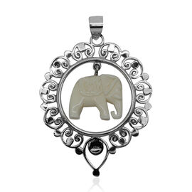 Princess Bali Collection OX Bone Carved Face Elephant Pendant in Sterling Silver 14.000 Ct.