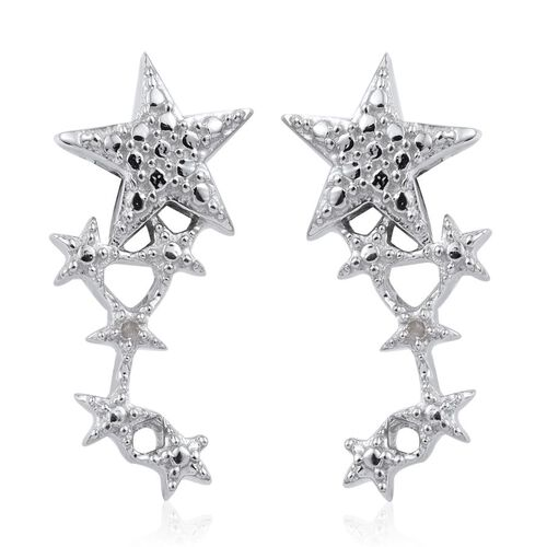 Diamond (Rnd) Star Earrings (with Push Back) in Platinum Overlay Sterling Silver