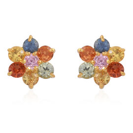 AAA Rainbow Sapphire (Rnd) Floral Stud Earrings (with Push Back) in 14K Gold Overlay Sterling Silver 1.250 Ct.