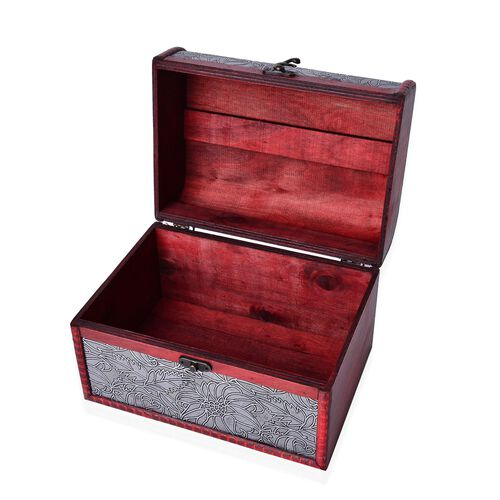 Set of 3 - Handcrafted Floral Embossed Silver Colour Vintage Style Jewellery Box (Small 12X7.5X7.5 Cm), (Medium 16X11X10.5 Cm) and (Large 22X16X15.5 Cm)
