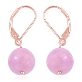 Rare Size Kunzite Lever Back Earrings in Rose Gold Overlay Sterling Silver.