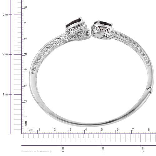 Natural Zawadi Golden Sheen Sapphire (Ovl), Diamond Bangle (Size 7.5) in Platinum Overlay Sterling Silver 12.750 Ct.
