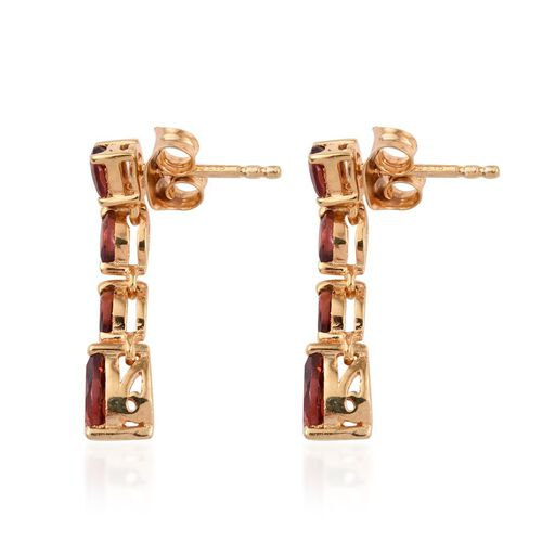 Mozambique Garnet (Pear) Earrings (with Push Back) in 14K Gold Overlay Sterling Silver 2.000 Ct.