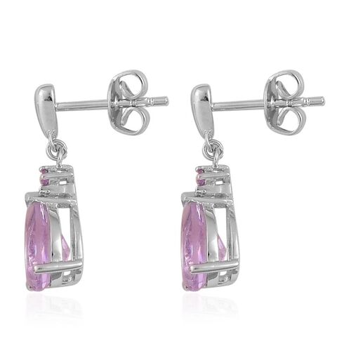 Rose De France Amethyst (Pear) Earrings (with Push Back) in Platinum Overlay Sterling Silver 2.520 Ct.