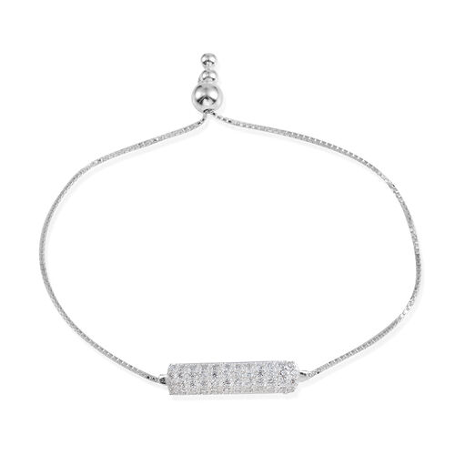 Designer Inspired JCK Vegas Collection AAA Simulated Diamond (Rnd) Adjustable Bracelet (Size 6 to 9) in Sterling Silver