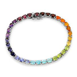 Rhodolite Garnet (Ovl), Hebei Peridot and Multi Gemstone Bracelet in Platinum Overlay Sterling Silver (Size 9) 10.747 Ct.
