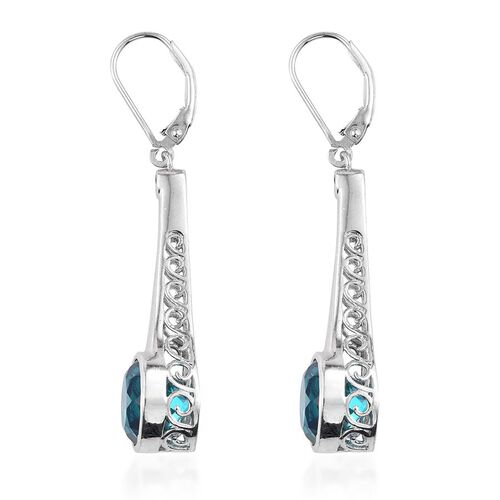 Capri Blue Quartz (Rnd), White Topaz Lever Back Earrings in Platinum Overlay Sterling Silver 8.250 Ct.