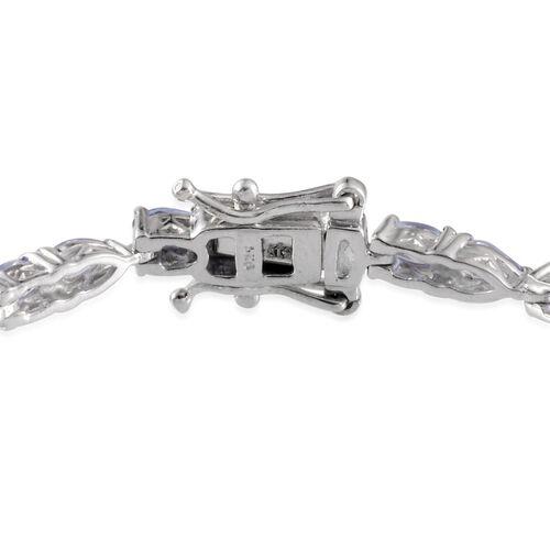 Tanzanite (Ovl) Bracelet in Platinum Overlay Sterling Silver (Size 7.5) 6.000 Ct.