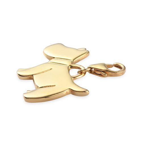 14K Gold Overlay Sterling Silver Scottish Terrier Dog Charm, Silver wt 3.43 Gms.