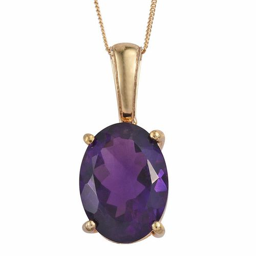 AA Lusaka Amethyst (Ovl) Pendant With Chain in 14K Gold Overlay Sterling Silver 11.750 Ct.