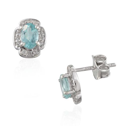Paraibe Apatite (Ovl), White Topaz Stud Earrings in Platinum Overlay Sterling Silver 1.400 Ct.