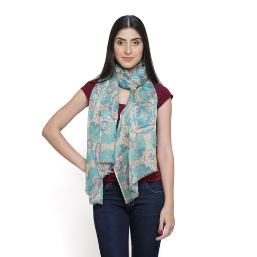 NEW FOR SEASON - 60% Merino Wool and 40% Modal Blue and Multi Colour Printed Scarf (Size 180x70 Cm)