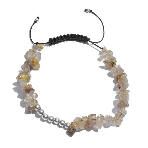 Golden Rutilated Quartz Bracelet (Size 7.5 with Adjustable) in Platinum Overlay Sterling Silver 42.000 Ct.
