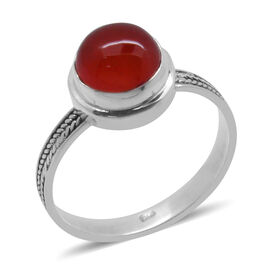 Royal Bali Collection Carnelian (Rnd) Solitaire Ring in Sterling Silver 2.910 Ct.