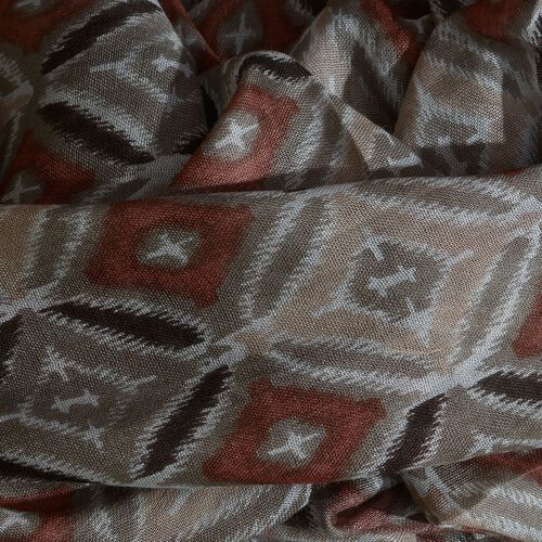 Brown, Beige and Multi Colour Rhombus Printed Scarf (Size 180x70 Cm)