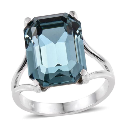 Crystal from Swarovski - Indian Sapphire Colour Crystal (Oct) Ring in ION Plated Platinum Bond