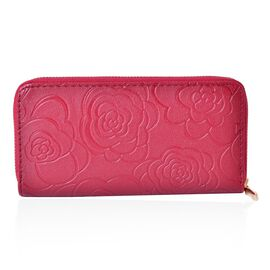 Burgundy Colour Rose Embossed Long Size Wallet (Size 19.5x9.5x3 Cm)