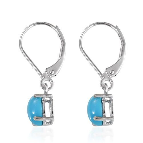 9K W Gold Arizona Sleeping Beauty Turquoise (Ovl) Lever Back Earrings 1.650 Ct.