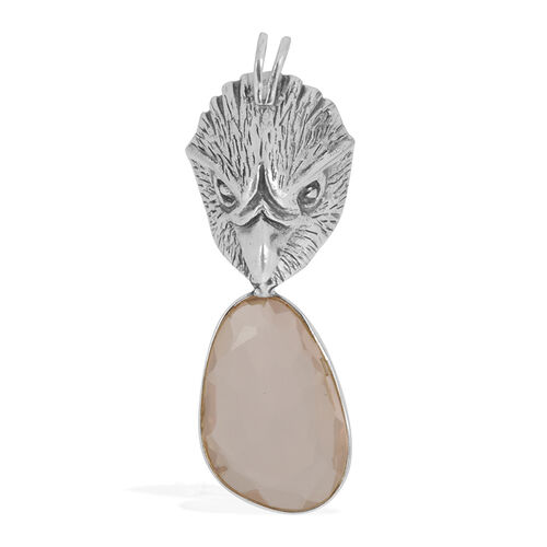 Creature Couture - Jewels of India Eagle Pendant with Pink Quartz in Sterling Silver 6.000 Ct.