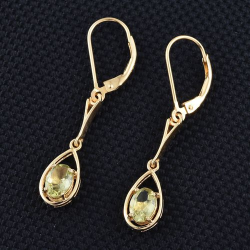 Natural Canary Apatite (Ovl) Lever Back Earrings in 14K Gold Overlay Sterling Silver 1.750 Ct.