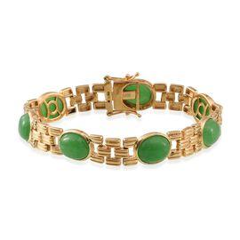 Green Jade (Ovl) Bracelet (Size 7.5) in 14K Gold Overlay Sterling Silver 28.250 Ct.