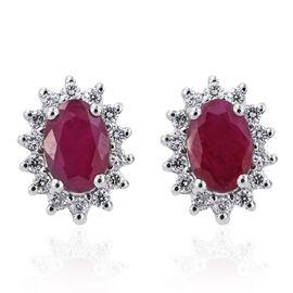 RHAPSODY 950 Platinum Burmese Ruby (Ovl), Diamond Stud Earrings (with Screw Back) 1.350 Ct.