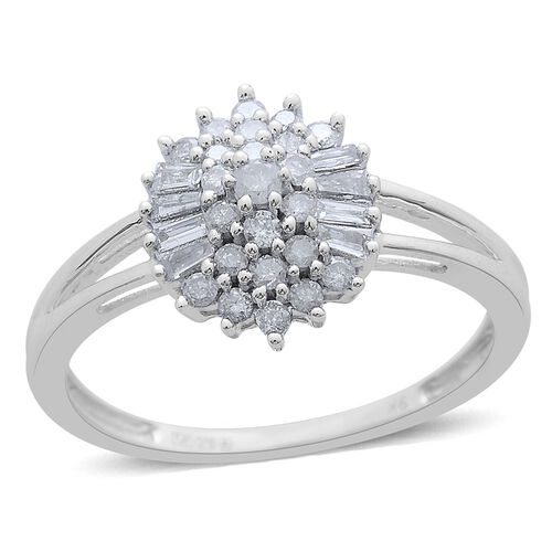 9K W Gold SGL Certified Diamond (Rnd) (I 3/G-H) Ring 0.503 Ct.