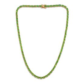 Green Ethiopian Opal (Ovl) Necklace (Size 18) in 14K Gold Overlay Sterling Silver 30.500 Ct.