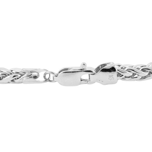 Royal Bali Collection 9K White Gold Diamond Cut Tulang Naga Bracelet Size7, Gold wt 4.24 Gms.