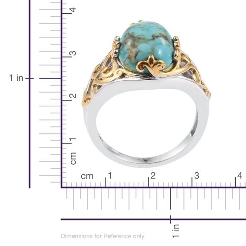 Arizona Matrix Turquoise (Ovl) Solitaire Ring in Platinum and Yellow Gold Overlay Sterling Silver 4.250 Ct.
