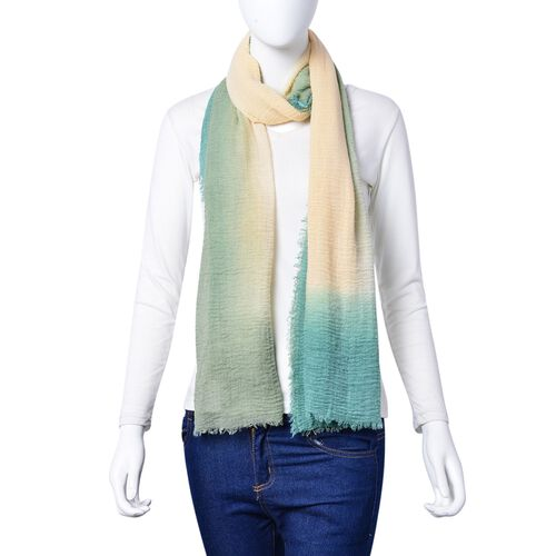 Beige, Grey and Green Colour Scarf with Fringes (Size 180X90 Cm)