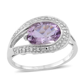 Rose De France Amethyst (Ovl) Solitaire Ring in Rhodium Plated Sterling Silver 3.000 Ct.