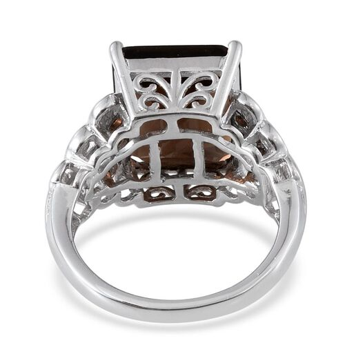 Brazilian Smoky Quartz (Oct 9.75 Ct) Ring in Platinum Overlay Sterling Silver 10.000 Ct.
