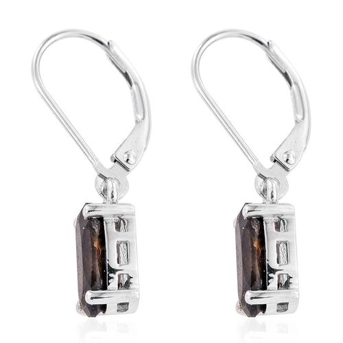 Natural Zawadi Golden Sheen Sapphire (Ovl) Lever Back Earrings in Platinum Overlay Sterling Silver 3.000 Ct.