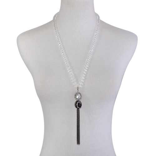 Black and White Glass, Black and White Austrian Crystal Necklace (Size 24) in Black Tone
