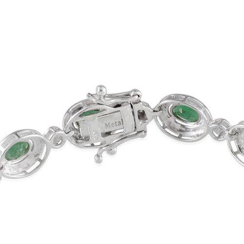 Kagem Zambian Emerald (Ovl), Diamond Bracelet in Platinum Overlay Sterling Silver (Size 7.5) 5.650 Ct.