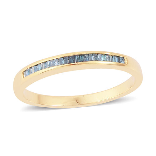 Blue Diamond (Bgt) Half Eternity Band Ring in Yellow Gold Overlay Sterling Silver 0.250 Ct.