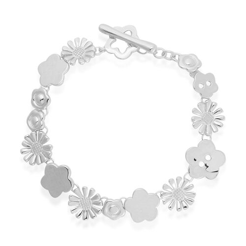 LucyQ Large Floral Bracelet (Size 7.75) in Rhodium Plated Sterling Silver 18.00 Gms.